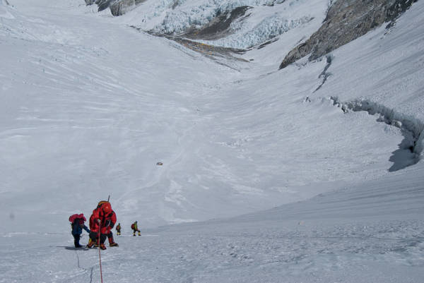 On the Lower Lhotse Face with Camp 2 behind