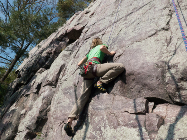 Jodie Hirsch at Devil's Lake State Park, climbing Just another Pretty Face (5.10a)