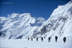 Climbers descending from Camp I